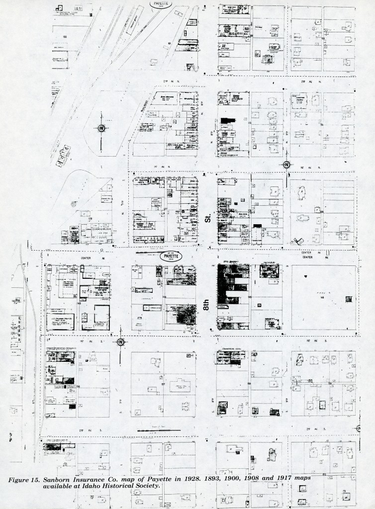 Sanborn Insurance Co. Map of Payette in 1928, 1893, 1900, and 1917.  Maps Available at Idaho Historical Society