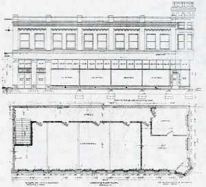 Architectural Drawings of North Elevation and Second Floor Plan of N. A. Jacobsen Building.